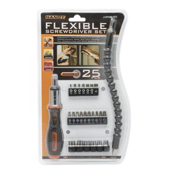 Racsnis csavarhúzókészlet flexibilis bitszárral 25 db-os 10743