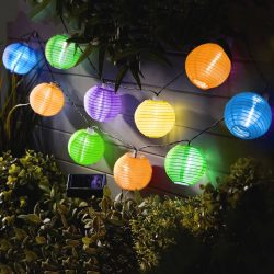 Szolár lampion fényfüzér - 10 db színes lampion, hidegfehér LED - 3,7 m 11227B