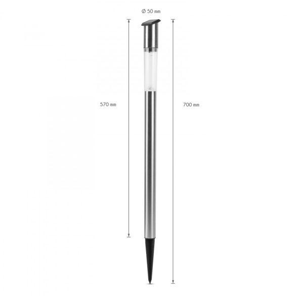 LED-es szolár oszlop lámpa - hidegfehér - fém - 70 x 5 cm  11230