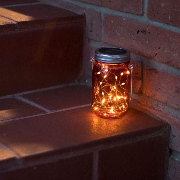 Felakasztható üveg szolár lámpa - hidegfehér microLED-ekkel - kék, piros, sárga  11241
