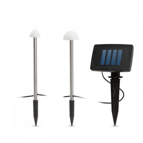 LED-es szolár lámpa - 12 db mini gomba - melegfehér - 24 cm x 4 m 11243