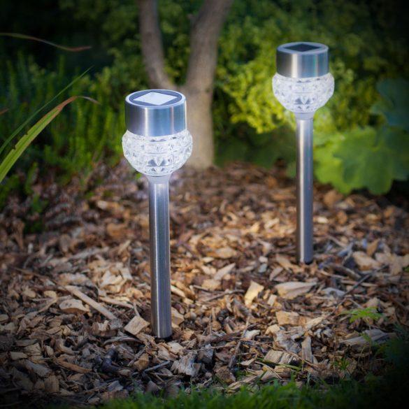 LED-es szolár lámpa - leszúrható - szálcsiszolt fém + üveg - 370 mm11254