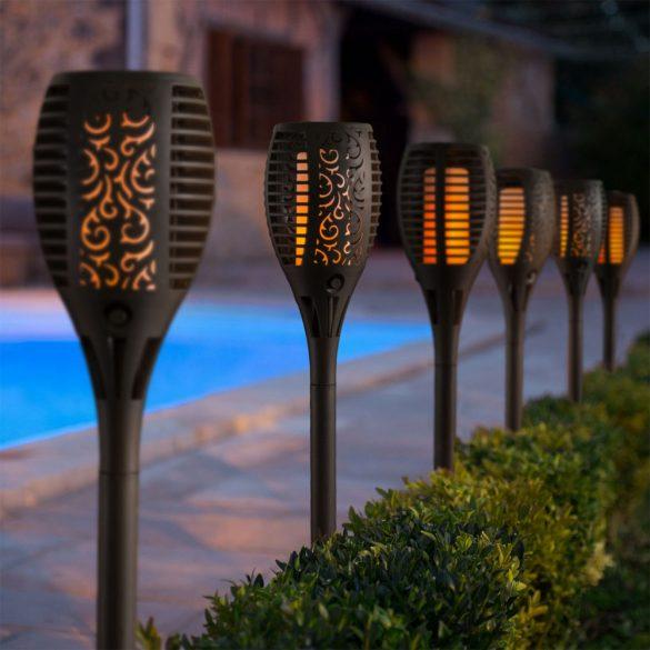 Lángokat imitáló szolár LED lámpa - fekete - műanyag11262