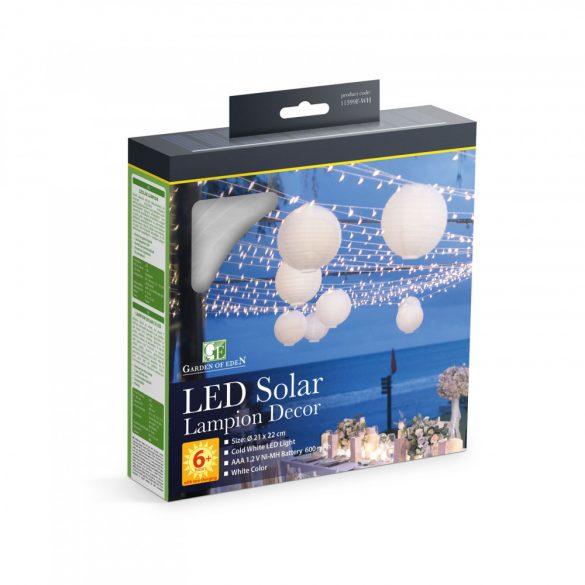 Szolár lampion - fehér - hidegfehér LED - 21 cm  11399F-WH