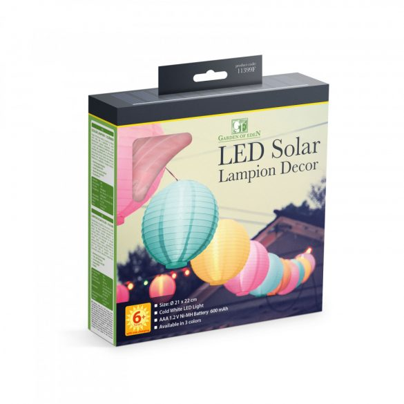 Szolár lampion - 3 színben - hidegfehér LED - 21 cm  11399F