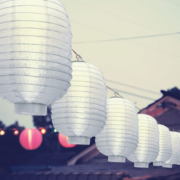 Szolár lampion - fehér - hidegfehér LED - 21 cm  11399G-WH