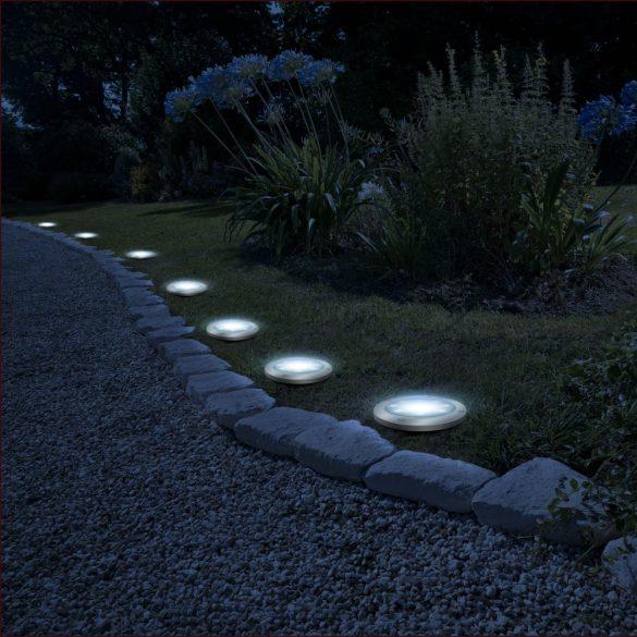 LED-es leszúrható szolár lámpa - kör alakú - hidegfehér - 11 cm  11440B