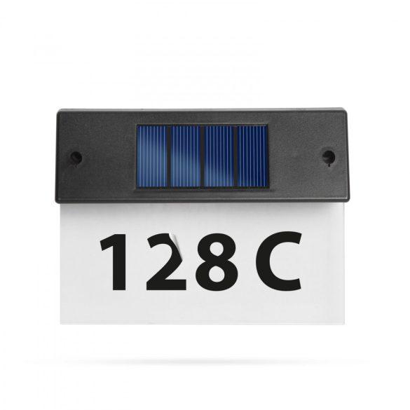 Szolár házszámfény - átlátszó plexi - hidegfehér LED - 18 x 20 cm  11446C