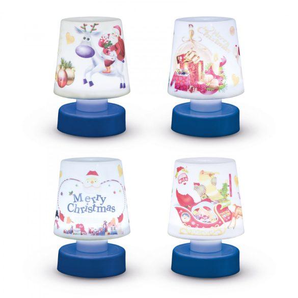 Karácsonyi asztali lámpa, elemes - kék talppal  55263BL