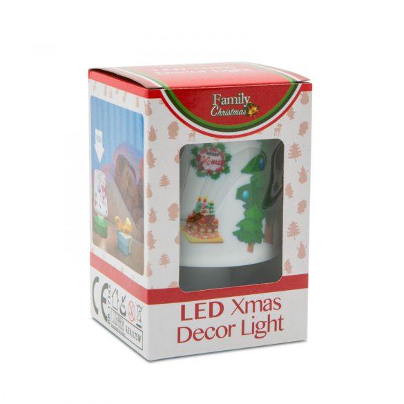 Karácsonyi asztali lámpa, elemes - piros talppal  55263RD