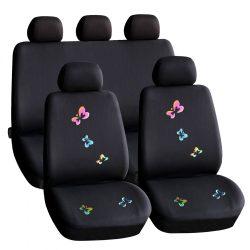 Autós üléshuzat szett - pillangós / fekete - 9 db-os - HSA009  55672BF