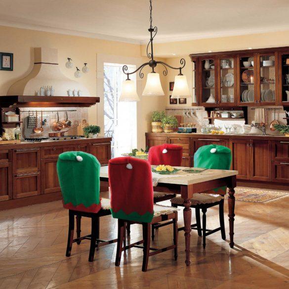 Székdekor - manósapka - piros / zöld  55926D