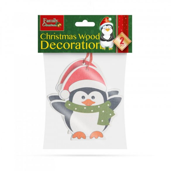 Karácsonyfadísz szett - pingvin - fából - 8 x 6 cm  55982C