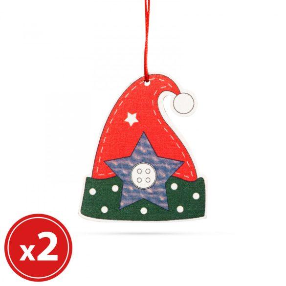Karácsonyfadísz szett - manósapka - fából - 8 x 6 cm  55982E