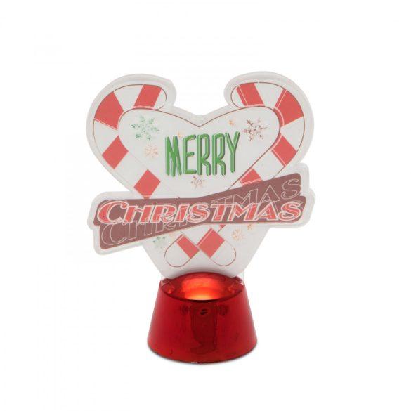 Karácsonyi asztali LED dekor - fényes talppal - szív - 11 cm  55986A