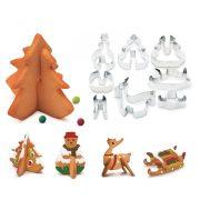 Sütikiszúró forma 3D - fenyőfa, hóember - 8 db / szett  55990B