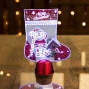 Karácsonyi asztali LED dekor - fényes talppal - csizma - 15 cm  55997A