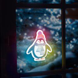 Karácsonyi RGB LED dekor - öntapadós - pingvin  56513B