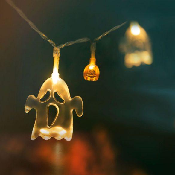 Halloween-i LED-es fényfüzér - szellem, tök - 10 LED - 2 x AA - 1,2 m  56523