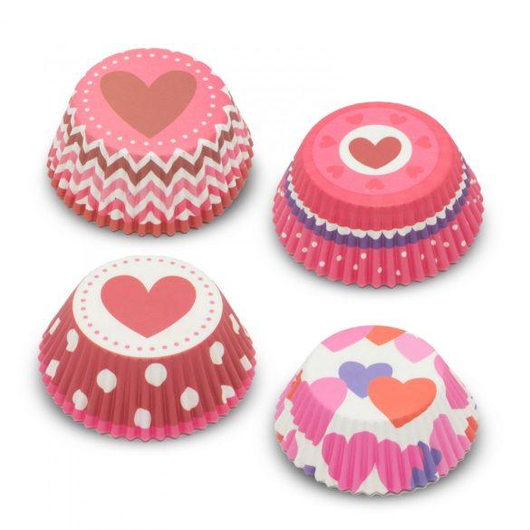 Muffin papír szett - szív - 100 db / csomag 57168H