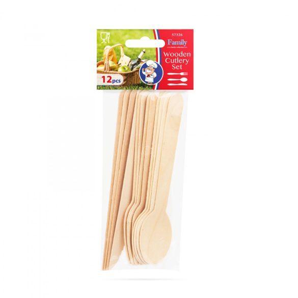 Fa evőeszköz készlet - villa, kanál, kés - 12 db / csomag 57326
