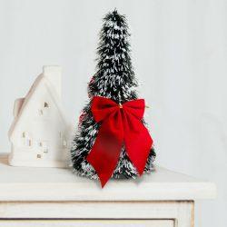 Karácsonyi, asztali műfenyő - havas - 2 piros masnival - 26 cm  58002A