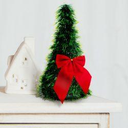 Karácsonyi, asztali műfenyő - zöld - 2 piros masnival - 26 cm  58002B
