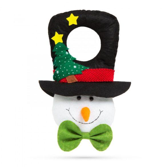 Karácsonyi kilincs dekor - hóember fekete kalapban - 29 x 18,5 cm 58022A