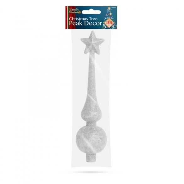 Karácsonyfa csúcsdísz - 18,5 cm - ezüst  58062B