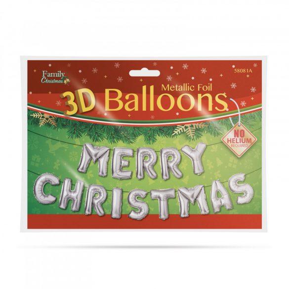"""3D Karácsonyi """"Merry Christmas"""" lufi - ezüst  58081A"""