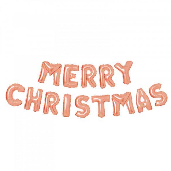 """3D Karácsonyi """"Merry Christmas"""" lufi - rozéarany  58081C"""