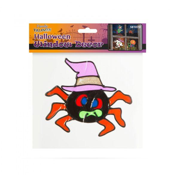 Halloween-i ablakdekor - színes, csillámos pók  58107D