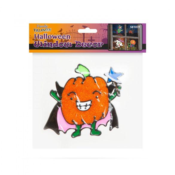 Halloween-i ablakdekor - Csillámos, színes tök  58107F