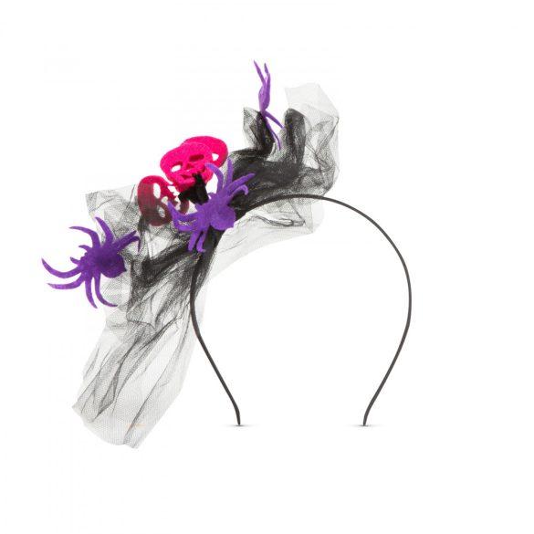 Halloween-i hajráf - pók, koponya - lila  58119D