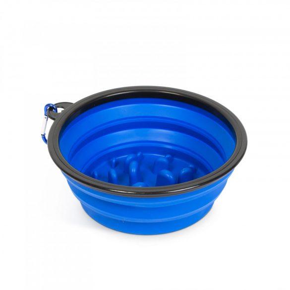 Összenyomható etetőtál - habzsolásgátlóval - kék - 1000 ml  60008BL