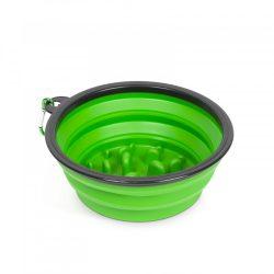 Összenyomható etetőtál - habzsolásgátlóval - zöld - 1000 ml  60008GR