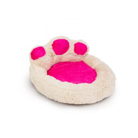 """Mancs alakú kutyafekhely - """"S"""" méret - törtfehér - rózsaszín  60014A"""