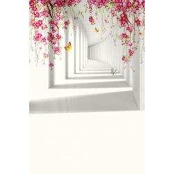 Vinyl háttér fotózáshoz.Virágos folyosót ábrázoló fotó háttér 150cm x 210cm BG-0010