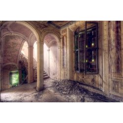 Vinyl háttér fotózáshoz.Romos folyosót, lépcsőt ábrázoló fotó háttér 150X210 cm  c-877