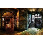 Vinyl háttér fotózáshoz.Romos lépcsőt, folyosót ábrázoló fotó háttér 150X210 cm  c-884